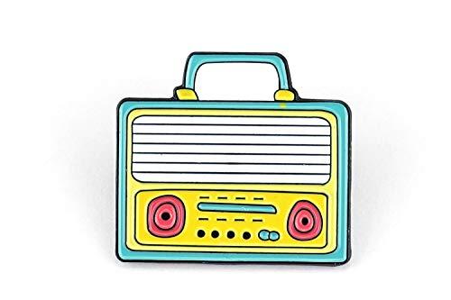 Naehgedoens.de Pin Boombox | cassette-recorder | turkoois geel | broche | speld | aansteeknaald