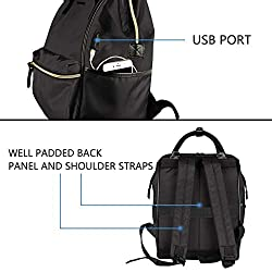 KROSER Laptop Backpack 15.6 Inch Stylish School Computer Backpack Casual Daypack Laptop Bag Water Repellent Nylon Business Bag Tablet with USB Port for Travel/Business/College/Women/Men-Black