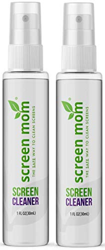 Screen Mom 1oz Screen Cleaner Spray 2 Pack - for Laptop, Computer Monitor, Phone Cleaner, iPad, Eyeglass, LED, LCD, TV - Includes 2 1oz Spray and 2 Purple Cleaning Cloths
