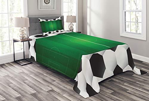 ABAKUHAUS Fußball Tagesdecke Set, Football Field Goal, Set mit Kissenbezügen Waschbar, für Einzelbetten 170 x 220 cm, Schwarz Grün