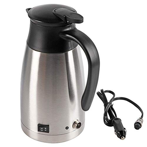 12v Electric Car Kettle,1000ml Stainless Steel Car Automobile Electric Heating Kettle DC 12V Cigarette Lighter Portable Electric Kettle Pot Heated Water Cup for Hot Water,Coffee,Tea