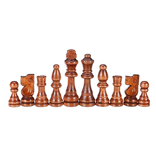 XLAHD Portable Chess Set,Chess Board Game 32 Piece Wooden Carved Chess King Chessman Hand Crafted Set Outdoor Entertainment Toy 91mm for Kids and Adults (Color : Brown, Size : One size)