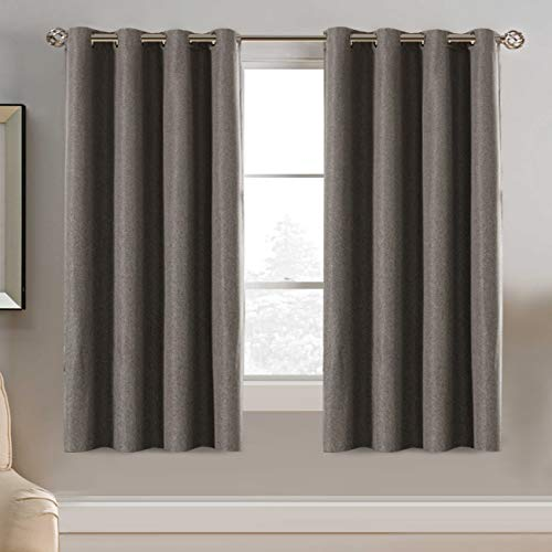 Linen Blackout Curtain 63 Inches Long for Bedroom / Living Room Thermal Insulated Grommet Linen Look Curtain Drapes Primitive Textured Burlab Effect Window Drapes 1 Panel - Taupe Gray