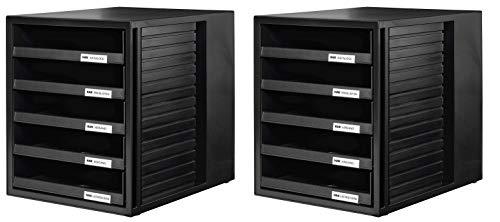 HAN Schubladenbox SYSTEMBOX 1401 in schwarz– Ordnungsbox DIN A4 – Aufbewahrungsbox mit Schubladen 2er Set