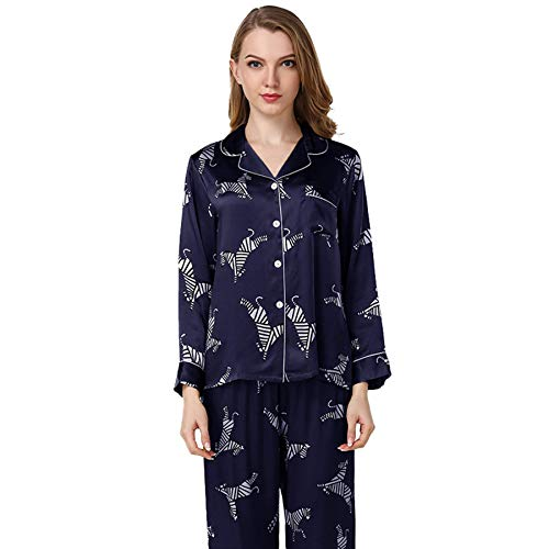 qazxsw Women's Pyjamas Spring and Summer Silk Zebra Autumn Long-Sleeved Trousers Button-Down Home Service Sets