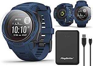 Garmin Instinct Solar (Tidal Blue) GPS Outdoor Smartwatch Power Bundle | with PlayBetter Power Bank Charger (Large) & HD Screen Protectors | Hiking Military Watch | HR, Waterproof | 010-02293-11