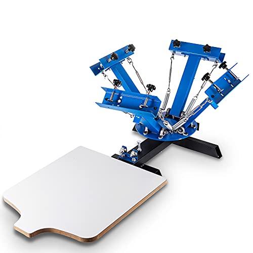 SmarketBuy Silk Screen Printing Machine 1 Station 4 Color Screen Printing for T-Shirt DIY (1 Station 4 Color)