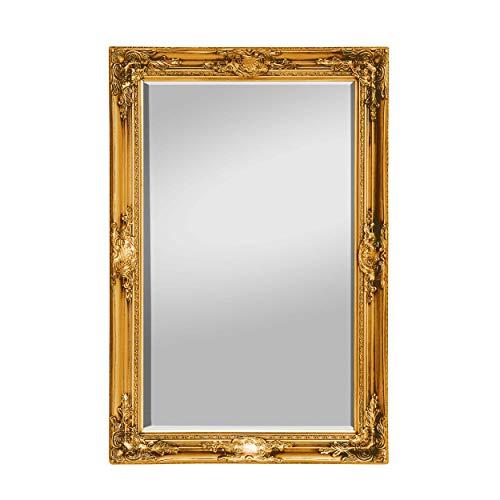 Rococo by Casa Chic - Goldener Shabby Chic Wandspiegel - 90 x 60 cm - Handgefertigter Spiegel - Barock - Groß - Massivholz - Antik Gold