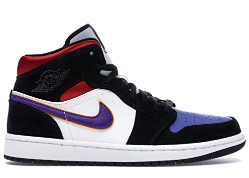 Nike Air Jordan 1 Mid Se, Zapatos de Baloncesto para Hombre, Negro (Black/Field Purple/White/Gym Red/Rush Blue/Amarillo 005), 46 EU