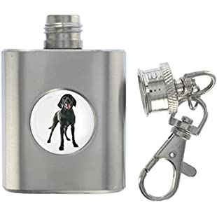 Labrador Dog Image Miniature Brushed Steel 1oz Flask Keyring:Hashflur