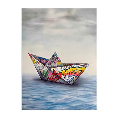 WEUEWQ póster Pintura en Lienzo Graffiti Art Paper Origami Barco Pintura en Lienzo Póster y Foto Imágenes artísticas de Pared para la Sala de Estar Decoración del hogar -50x70cmx1 Sin Marco