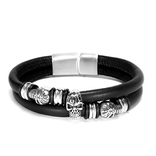 Autiga® Echt-Leder-Armband Totenkopf-Armband aus Rindsleder Skull schwarz Edelstahl Herren Damen schwarz