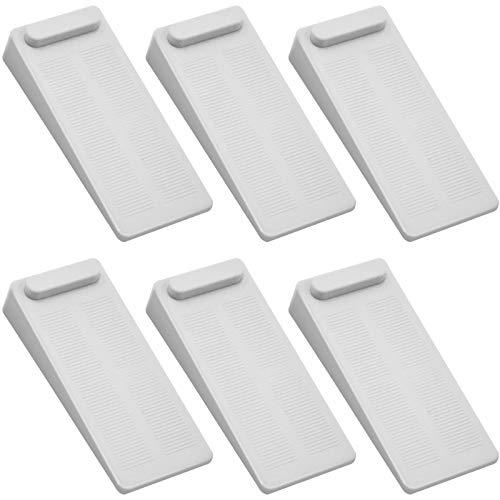 Rubber Door Stoppers 6 Pack, Heavy Duty No-Slip Adjustable Height and Stackable Door Stop Wedge Doorstop Work Well on All Surfaces Wedge