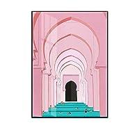 室内装飾塗装 リビングルームとベッドルームのために人格現代の高級ウォールアートピンク北欧の建築キャンバス絵画 (Color : A, Size : 60x80cm)
