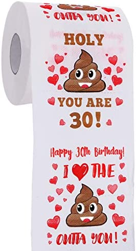 30th Birthday Gifts for Men and Women Happy Prank Toilet Paper 30th Birthday Decorations for product image