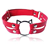 ETHOON Adjustable Leather Elastic Choker Collar Sexy Soft PU Cat Punk Leg Choker for Women Girls,Red