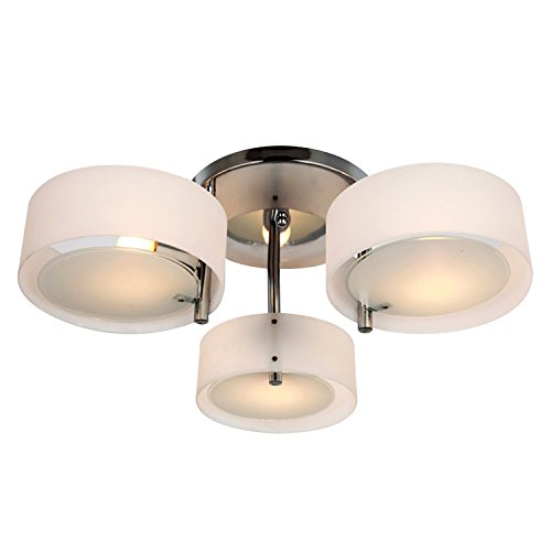 HOMCOM Deckenlampe Deckenleuchte Kronleuchter 40W Leuchte 3-flammig Chrom Acryl E27 Warmweiß Ø64xH20cm