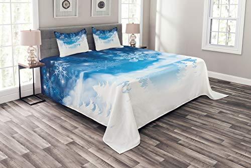ABAKUHAUS Winter Tagesdecke Set, Schneeflocken & Sterne, Set mit Kissenbezügen Maschienenwaschbar, für Doppelbetten 220 x 220 cm, Blau-weiß