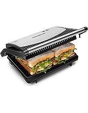Aigostar Panini Grill, Sandwichmaker, Tosti-ijzer, Contactgrill- 750W, RVS met Anti-aanbaklaag, 180 Graden te Openen, Zwart York | 30RUM