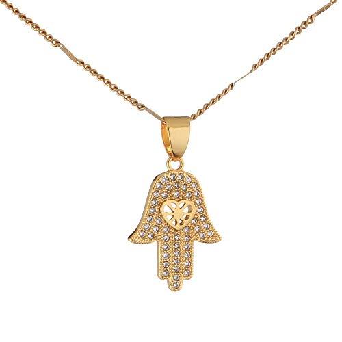 Naswi Collar De Hamsa De Color Dorado, Collar con Colgante De Mano De La Suerte De La Mano De Fátima, Joyería De Moda