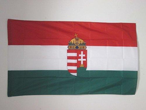 AZ FLAG Flagge UNGARN MIT Waffen 90x60cm - UNGARISCHE Fahne 60 x 90 cm Scheide für Mast - flaggen Top Qualität
