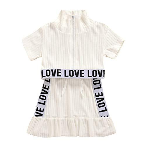 Moneycom❤(1-5Y Toddler Kids Baby Girls Boys Letter Tops Over Hip Skirt Clothes 2PCS Outfits Blanc(3-4 Ans)