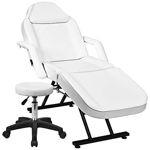 Giantex Adjustable Massage Table Massage Bed w/Stool, 3-Section Convertible Spa & Salon Facial, Tattoo Chair, Removable Headrest Facial Cradle, Professional SPA Beauty Facial Bed Massage Equipment