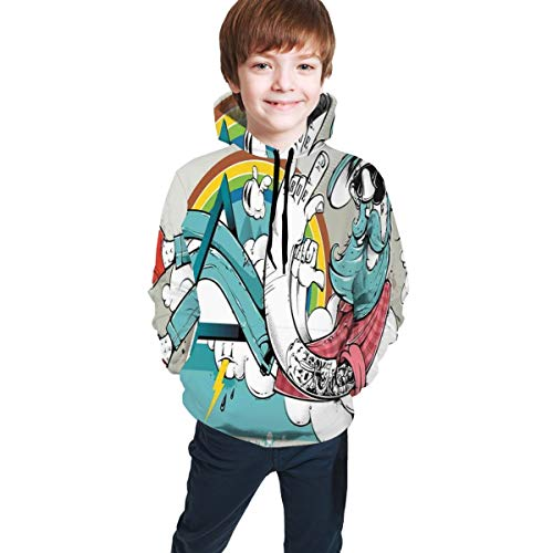 SOOPTY Teen Hooded Sweatshirts,Tattooed Cool Dude with Long Beard Going Through Abstract Triangle Shape On Clouds XL