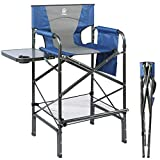 EVER ADVANCED Tall Directors Chair Foldable Makeup Artist Chair Bar Height with Side Table Cup Holder and Storage Bag Footrest, Supports 350LBS (Blue/Grey)