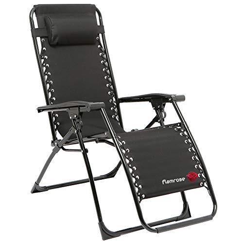 FLAMROSE 枕付きポータブル無重力チェア アウトドア、庭、オフィス、キャンプ、釣り、テラス、プール、ビーチに最適なマルチポジションチェア 耐荷重110kg (ブラック)