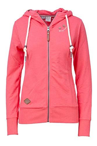 Ragwear Damen PAYA Sweatjacke, Frauen Sweatshirt mit Reißverschluss,Zip Hoodie,Kapuze,Stehkragen,Regular Fit,Pink,XS