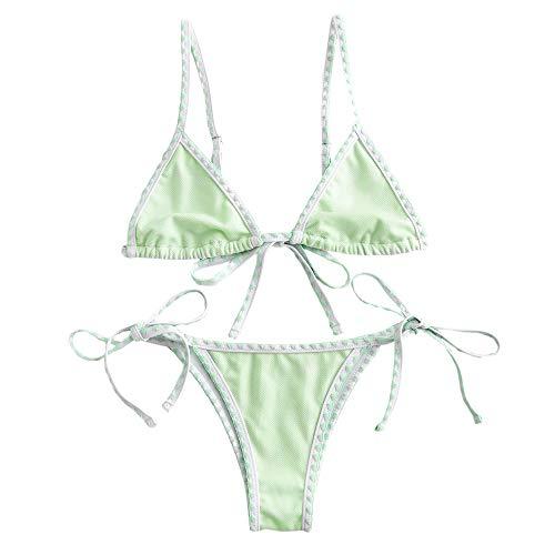 ZAFUL Women's Whip Stitch Textured String Triangle Bikini Set Two Piece Swimsuit (Mint Green, L)