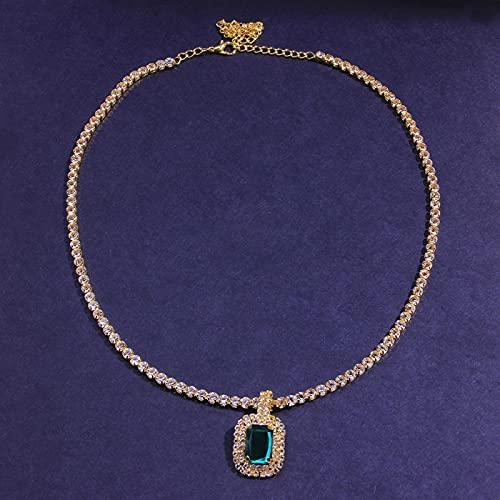 Collar Collar con Colgante De Cristal Verde Cuadrado Grande para Mujeres Y Hombres, Collar De Tenis con Diamantes De Imitación De Hip Hop, Joyería Lla