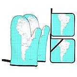 Columbia isometrische Südamerika-Karte Paraguay Quito hitzewiderstandsfähige Küchenofenhandschuhe, mit rutschfesten ofenfesten Handschuhen & Topflappen, zum Kochen, Backen, Mikrowelle, Grillen