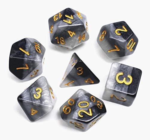 Flexble DND Polyhedralwürfel Set Lila Durchsichtige Würfel für Dungeons und Drachen (D & D) Pathfinder RPG MTG Mathe Rollenspiel Brettspiele Tischspiele