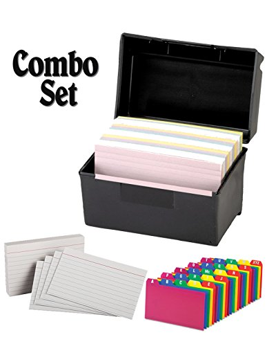 Plastic Index Card Flip Top File Box Holds 300 3 x 5 Cards, Matte Black, with Poly Card Guides, A-Z, 3 x 5 -Inch, and Heavy Weight Index Cards, 3