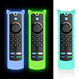 [3PCS] Alquar Case for Alexa Voice Remote (3rd Gen)(2021 Release), Anti Slip/Shock Proof Silicone Cover Case for Fire TV Stick 2021 Remote Control with Anti-Loss Strap (Glow Blue+Glow Green+Ice Blue)