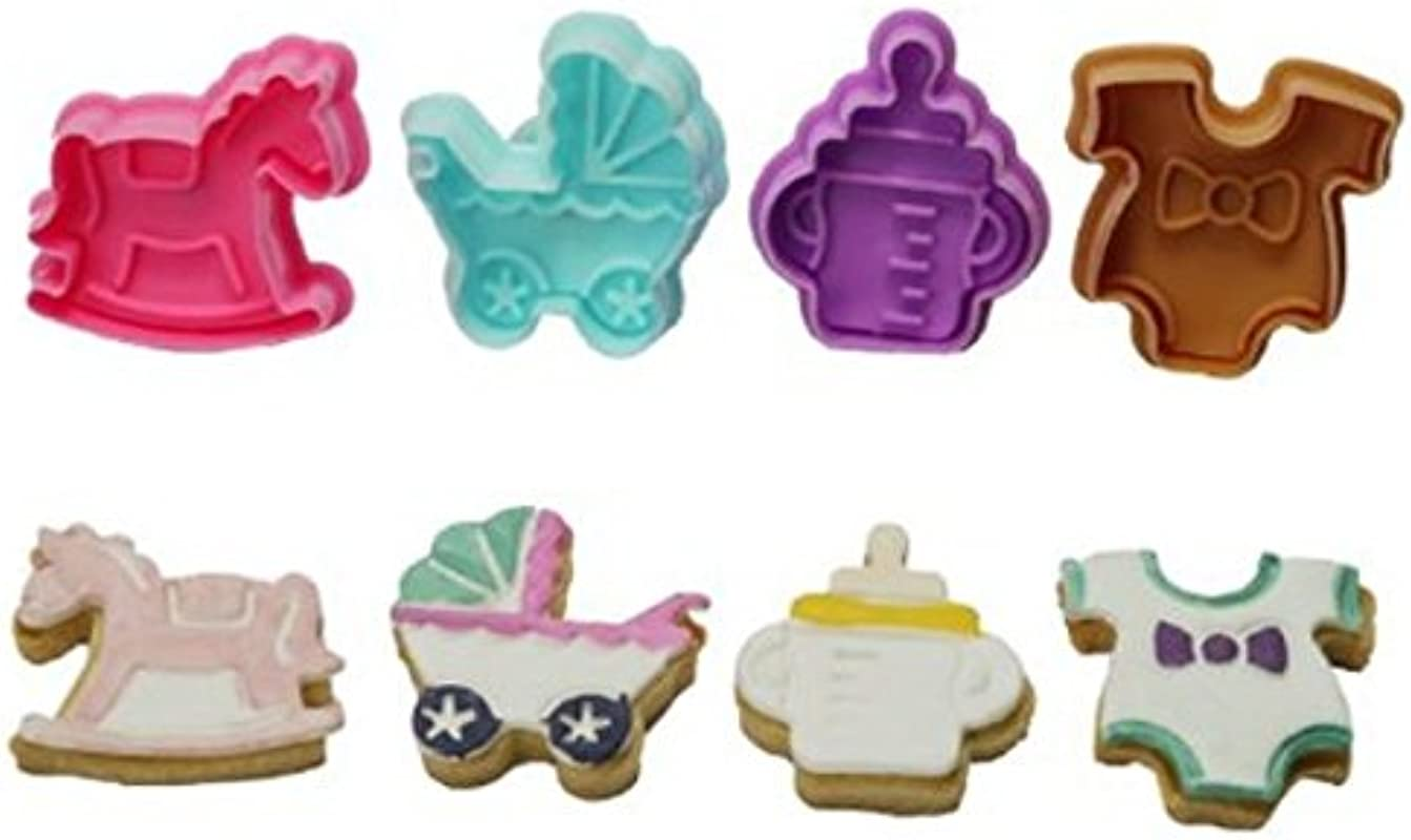 Allforhome Baby Shower Cookies Cutter Cake Plunger Cake Decorating Fondant Embossing Biscuit Polymer Clay Making Tools Mold