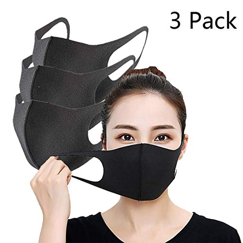 buluship Man Women Mouth Mask Mouth Mask Dustproof Tattoo Washable Reusable Breathable Face Masks out Door Travel Accesories Black