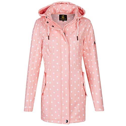 Michael Heinen Damen Softshellmantel gepunktet gestreift Windbreaker Parka Outdoor Softshelljacke Mantel Kapuze Übergang, 40 (Hersteller Größe: L), Pink
