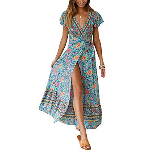 Mosestons Mujer Vestido Bohemio Largo Florales Verano Sexy Vestido Casual Magas Cortas Fiesta Playa Vacaciones Vestido S-XL