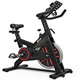 TRYA Indoor Cycling Bike Stationary, Exercise Bike for Home Cardio Gym, Workout Bike with 35 Lbs Flywheel & Thickened Frame Upgraded Version (Black)