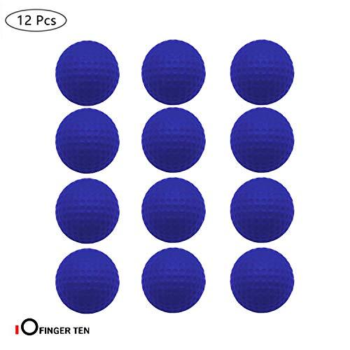 FINGER TEN Golf Übungsbälle Trainingsbälle 12 Stück Golfbälle Trainings Heimgebrauch Im Freien Garten Rot Orange Gelb Blau Für Damen Herren Kinder (Blau, 12 Stück)