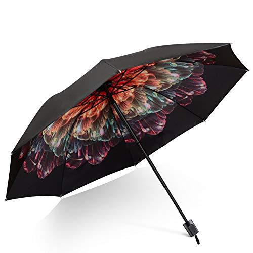 DORRISO Damen Taschenschirme Regenschirm Mini Sonnenschirm Leicht Kompakt Regenschutz Dauerhafte rutschfest Griff Reisen Taschenschirm Rose