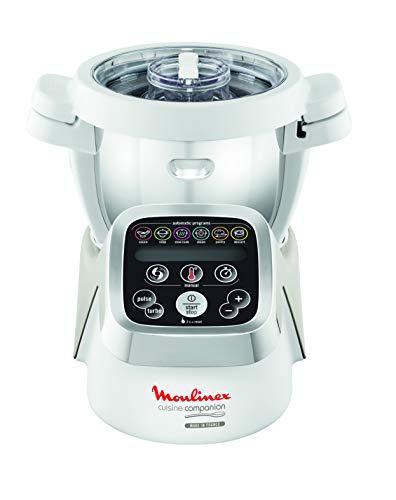Moulinex HF802AA1 Cuisine Companion Robot da Cucina Multifunzione con 6 Programmi Automatici, 1550 watt, Bianco/Argento