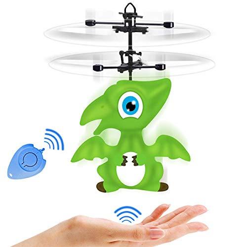 JIALI Sensor infrarrojo dinosaurio volando juguete, juguete volador RC eléctrico, carga USB pequeño RC juguete para niños regalo de cumpleaños