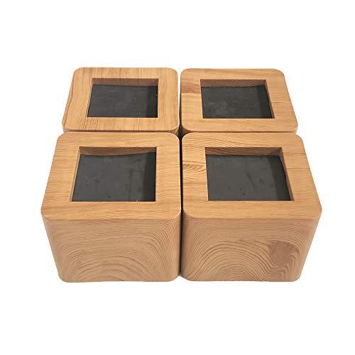 MIIX HOOM/elevadores de cama de 3 pulgadas | elevador de muebles de madera resistente | 4 piezas | elevadores de sofá o mesa marrones