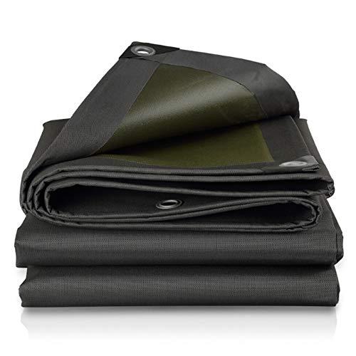 ASPZQ Tarp Tarpoline Sheet Waterproof Black Tarps Large Size Eyelets Plastic Gazebo Wear and Corrosion Resistance Double-Sided Waterproof 0.66mm Thick Thickness : 0.66mm, 尺寸 Size(m) : 10×20