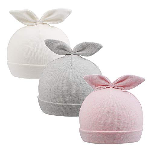 Zsedrut Baby Boy Beanie Newborn Girl Hospital Hat 0-4M Toddler Nursery Cap Rabbit,Bear Ears,100% Cotton,Double Fabric (Rabbit/White&Pink&Grey)