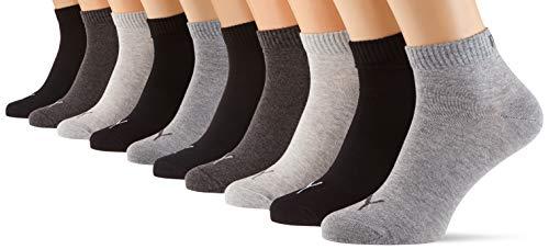 PUMA Quarter Plain Socks Multipack Calcetines, Negro/Gris, 35-38 Unisex Adulto